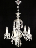 5-candle cut crystal chandelier <NOBR>(ca. 1930s)</NOBR>