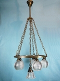 Large brass chandelier with 6 Holophane shades <NOBR>(ca. 1910s)</NOBR>
