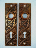 PAIR pressed brass back plates <NOBR>(ca. 1880s)</NOBR>
