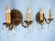 PAIR cast-brass and crystal 2-candle wall sconces, circa 1930s