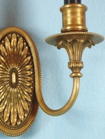 Single chased cast brass 2-candle sconce <NOBR>(ca. 1910s)</NOBR>