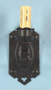 Single black painted wrought iron one-candle wall sconce <NOBR>(ca. 1920s)</NOBR>