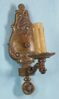 Single polychrome over cast iron one-candle wall sconce <NOBR>(ca. 1930s)</NOBR>