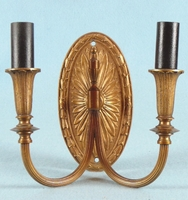 Single cast brass 2-candle sconce <NOBR>(ca. 1930s)</NOBR>