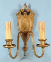 SET cast brass sconces: one double candle, one single candle <NOBR>(ca. 1930s)</NOBR>