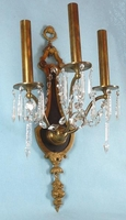 Single large cast brass & cut crystal 3-candle wall sconce <NOBR>(ca. 1920s)</NOBR>
