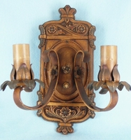 Single large polychrome over cast iron 2-candle wall sconce <NOBR>(ca. 1920s)</NOBR>
