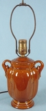 Brown pottery table lamp <NOBR>(ca. 1930s)</NOBR>
