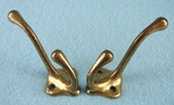 PAIR cast brass hooks
