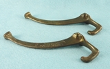 PAIR brass plated cast iron coat hooks (1219)