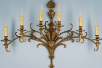 Single large 6-candle cast brass Spanish wall sconce <NOBR>(ca. 1940s)</NOBR>