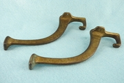 PAIR brass plated cast iron coat hooks (1270)