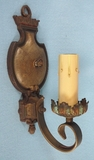 PAIR polychrome over cast iron single candle sconces <NOBR>(ca. 1920s)</NOBR>