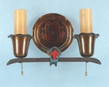 PAIR polychrome over cast iron and brass 2-candle sconces <NOBR>(ca. 1930s)</NOBR>