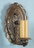 Single hammered brass one-candle wall sconce <NOBR>(ca. 1920s)</NOBR>