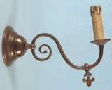 PAIR brass single candle sconces (gas fixtures converted to electric) <NOBR>(ca. 1900s)</NOBR>
