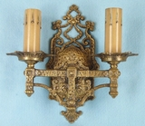 Single Halico Lite Co. 2-candle cast brass wall sconce <NOBR>(ca. 1910s)</NOBR>