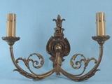 Single 2-candle cast brass wall sconce <NOBR>(ca. 1920s)</NOBR>