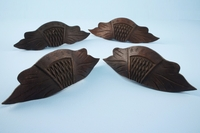 SET of 4 carved walnut drawer pulls <NOBR>(ca. 1890s)</NOBR>