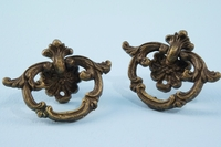 PAIR cast brass drawer pulls <NOBR>(ca. 1900s)</NOBR>