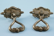 SET of 4 nickel plated Arco Co. cast brass drawer pulls <NOBR>(ca. 1910s)</NOBR>