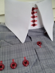 MorCouture Limited Edition Grey Check 5 Button 'Centipede' High Collar Shirt