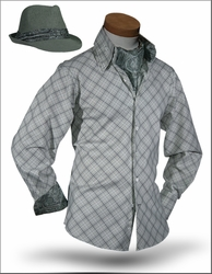 Angelino Yuma Grey Light Green High Collar Shirt with Ascot and Fedora