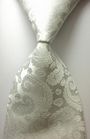 Backordered---White Paisley Silk Necktie