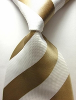 White Gold Stripe Silk Necktie