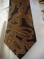 Brown Dark Gold Paisley Necktie