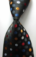 Black Multi-Spot 100% Silk Necktie