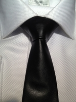 Black Faux Leather Slim Necktie