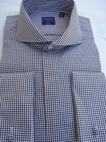 Brown Gingham Cutaway Collar French Cuff Dress Shirt size 16