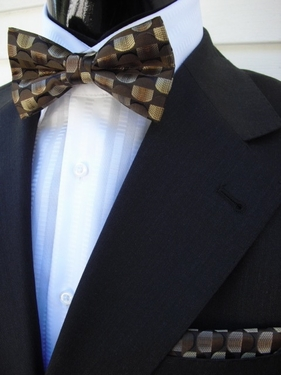 MorCouture Bow tie Hanky set1  (Brown/Gold)