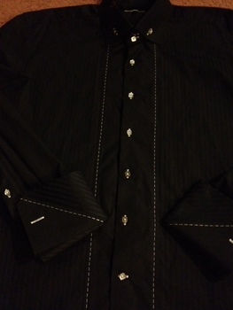 Angelino Black 2 button white stitch shirt
