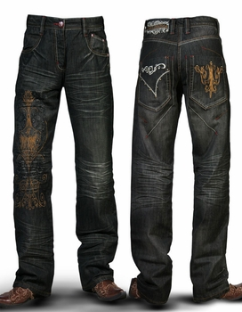 Angelino Victorian Jeans. (copper brown embroidered)W40