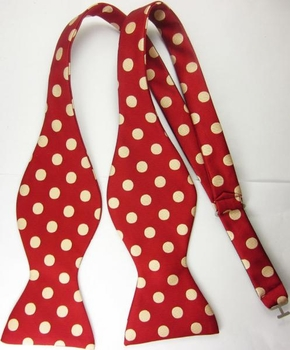 Red Beige Polka Dot Self Tie Bowtie