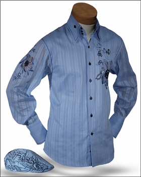 Angelino Luigi Blue Embroidered High Collar Shirt with matching cap S(15.5)