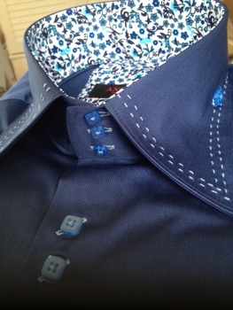 Axxess Blue Stitch High Collar Shirt size L(15.5 - 16)