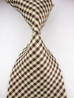 Cream Brown Small Check Woven Necktie
