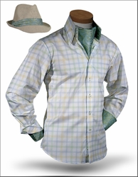 Angelino Benito Green High Collar Shirt with Fedora and Ascot
