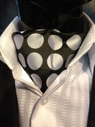 Black Silver Big Spot Ascot and Matching Hanky