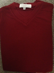 Ribbed Short Sleeve V-Neck Shirt (Maroon)