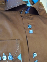 Axxess Brown with Blue Buttons High Collar Shirt size L(16- 16.5)