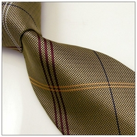Dark Gold Silk Woven Striped Nectie