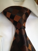 Brown Diamonds Silk Woven Necktie