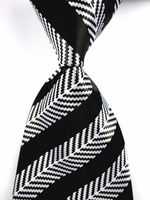 Black White Herringbone Silk Necktie