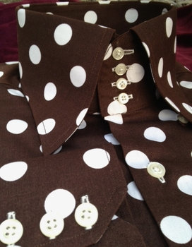 MorCouture Brown White Polka Dot  High Collar Shirt w/Hanky S(14.5 - 15)
