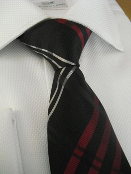 Black Red Silver Check Necktie