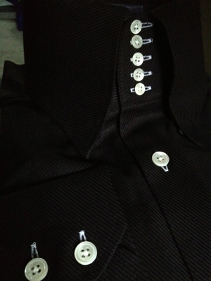 MorCouture Black 5 Button Collar Shirt